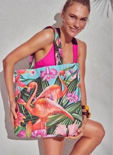 Morhipo Beach Floral Flamingo Plaj Çantası Renkli
